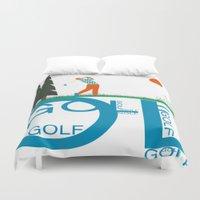 golf Duvet Covers featuring Golf, golf, golf! by South43