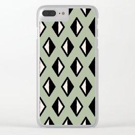 Diamond Pattern Green Clear iPhone Case