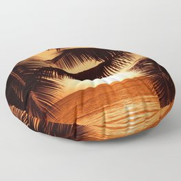 Perfect Palm Sunset (Color) Floor Pillow