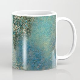 Blue And Gold Modern Abstract Art Painting Coffee Mug