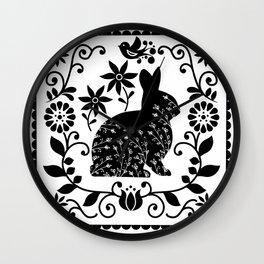 Woodland Folk Black And White Bunny Tile Wall Clock