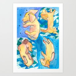 Sleeping Daschund Art Print