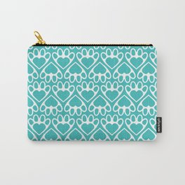 Paw Prints on my Heart - in Cyan Carry-All Pouch
