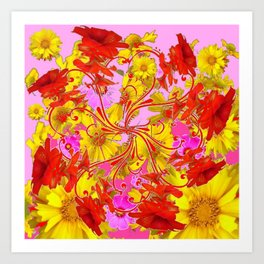AWESOME RED AMARYLLIS & YELLOW COREOPSIS RED ABSTRACT GARDEN Art Print