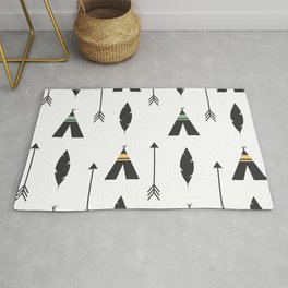 cute feathers, arrows and teepee ethnic tribal seamless pattern illustration Rug