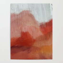 Desert Journey [2]: a textured, abstract piece in pinks, reds, and white by Alyssa Hamilton Art Poster