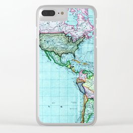 Turquoise Map Pattern Clear iPhone Case