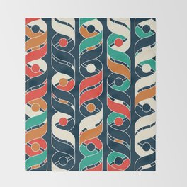 Colorful Vintage Geometric Stripes Pattern Throw Blanket
