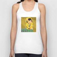 gustav klimt Tank Tops featuring The Kiss (Lovers) by Gustav Klimt  by Alapapaju