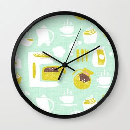 Pastel Café Mint Wall Clock