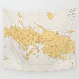 Vintage Map of St Thomas (1922) Wall Tapestry