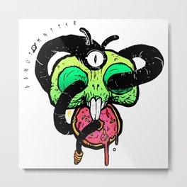 Hungry Bunny Skull Metal Print