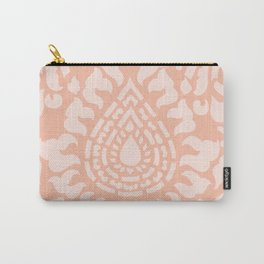 Peach Damask Pattern Carry-All Pouch