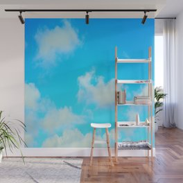 White Clouds Bright Blue Sky Wall Mural