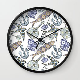 Collection of traditional Portuguese icons in seamless pattern. Wall Clock