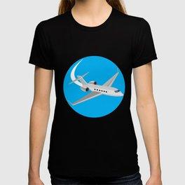 Commercial Light Passenger Airplane Circle Retro T-shirt