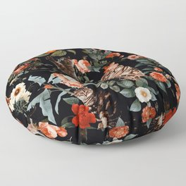 Cat and Floral Pattern II Floor Pillow