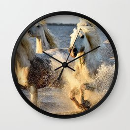 Spectacular Wild Horse Family Stampede Oceanside UHD Wall Clock