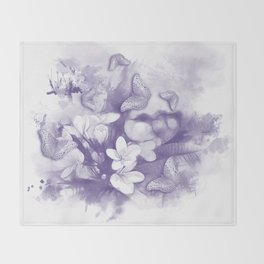 Ultraviolet tropical flowers and butterflies Throw Blanket