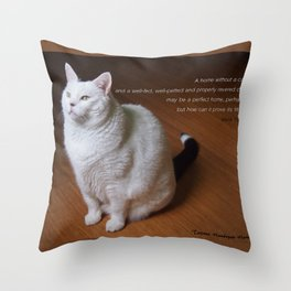 Cat with Mark Twain quote Throw Pillow