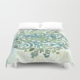 Time To Read - Watercolor Green Duvet Cover