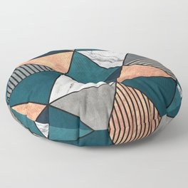 Copper, Marble and Concrete Triangles 2 with Blue Floor Pillow