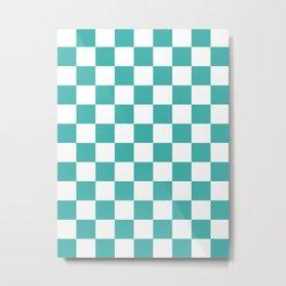Checkered - White and Verdigris Metal Print