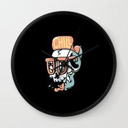 Skull Chill Out Summer Beach Illustration Wall Clock