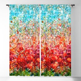 Field Of Spring Poppies Panorama Blackout Curtain