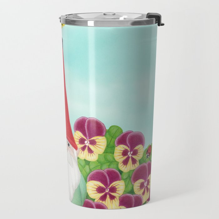 gnome with magnolia warbler and pansies Travel Mug