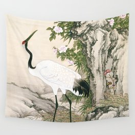 Crane and Chinese Roses Wall Tapestry