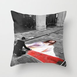 Street Art in Bologna Black and White Photography Color Throw Pillow