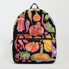 Rainbow of Fruits and Vegetables Dark Backpack