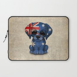 Cute Puppy Dog with flag of Australia Laptop Sleeve
