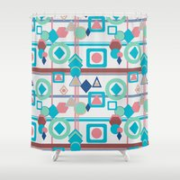pantone Shower Curtains featuring Geometric Spring Pantone Palette by naturessol