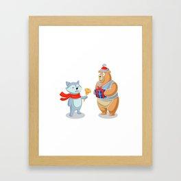 Bear and racoon merry christmas Framed Art Print