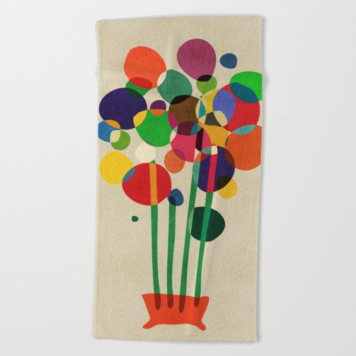 Happy flowers in the vase Beach Towel