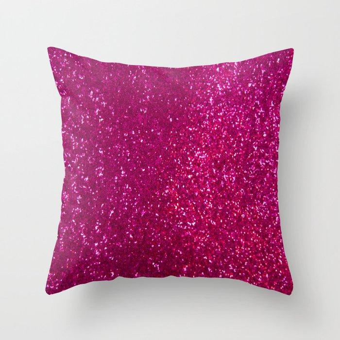 Glamours Fuchsia Glitter Throw Pillow