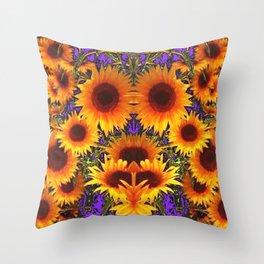 Sunflower Field Purple-Green Fantasy Throw Pillow