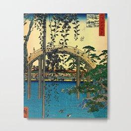 Hiroshige View Of Bridge Over Water Metal Print