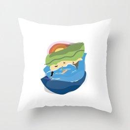 Sharkies Beach Surfing Throw Pillow