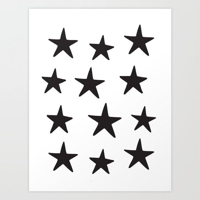 Star Pattern Black On White Kunstdrucke