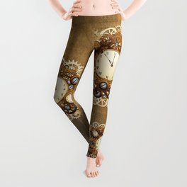 Steampunk Vintage Style Clocks and Gears Leggings