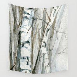 Winter Birch Trees Woodland Watercolor Original Art Print Wall Tapestry