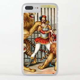 The Lion Tamer 1873 Vintage Circus Clear iPhone Case
