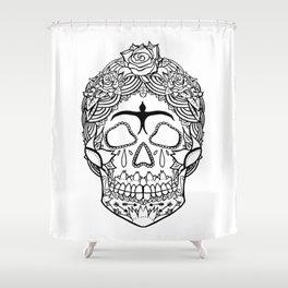 Frida Kahlo Sugar Skull black and white Shower Curtain