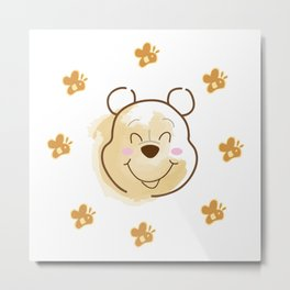 Inspired Pooh Bear surrounded with bees Metal Print