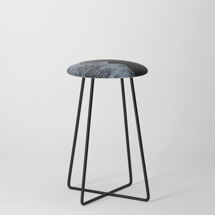 Waves on a black sand beach in iceland - minimalist Landscape Photography Counter Stool