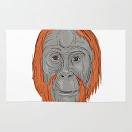 Unflanged Male Orangutan Drawing Rug