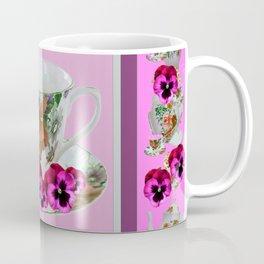 CERISE PANSY FLOWERS ANTIQUE TEA POTS & CUPS Coffee Mug